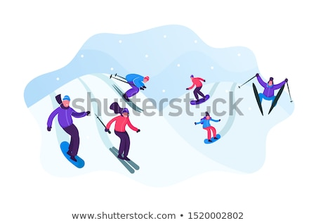 A snowboarder gliding down a slope Stock photo © photography33