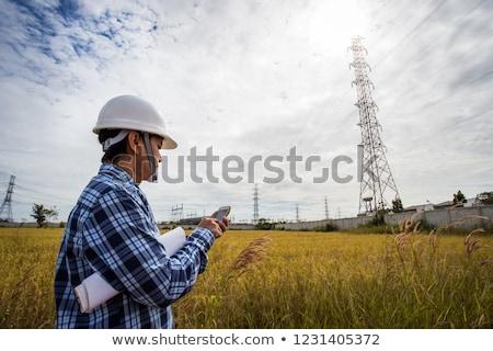 eletricista · telefone · laptop · construção · fundo · terno - foto stock © photography33