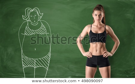Fogyókúra karcsú nő izolált fehér test Stock fotó © Kurhan