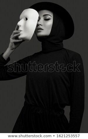 Young woman actor face with mask Stock photo © Rebirth3d