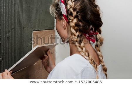 mulher · telha · casa · trabalhador · interior - foto stock © photography33