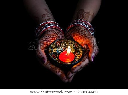 hena · decoração · noivas · mão · belo · cópia · espaço - foto stock © mnsanthoshkumar