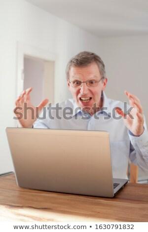 Mérges idős férfi kék fehér személy Stock fotó © photography33