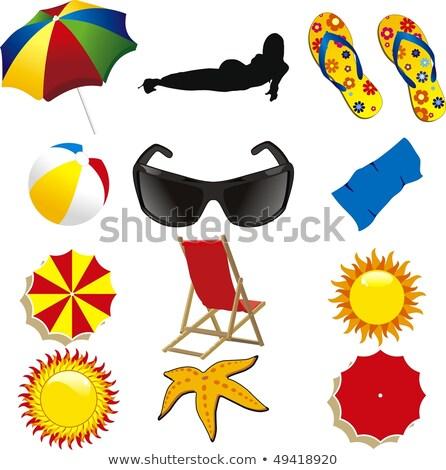 divertente · sole · occhiali · da · sole · isolato · illustrazione · bianco - foto d'archivio © lossik