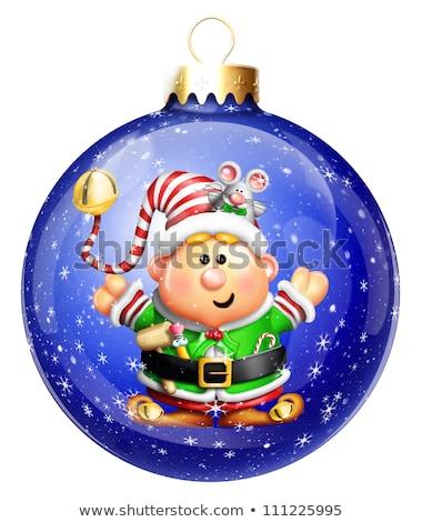 hóbortos · rajz · karácsony · manó · egér - stock fotó © komodoempire