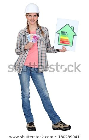 Beneficios la eficiencia energética mujer mundo estrellas Foto stock © photography33