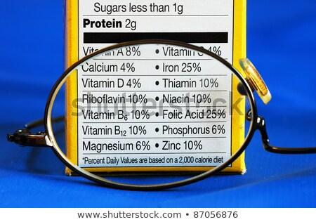 Focus on the nutrition facts concepts of eat healthy Stock photo © johnkwan