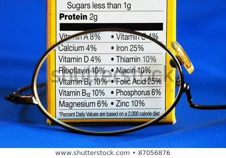 voeding · feiten · label · witte · voedsel · vet - stockfoto © johnkwan