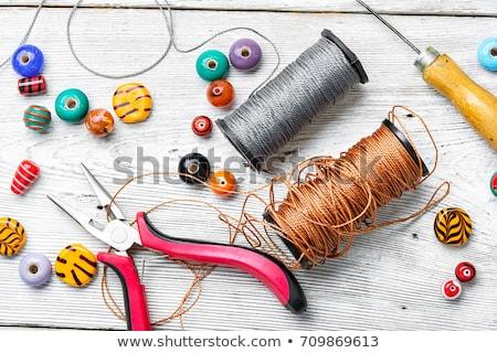 Keverék gyöngyök nagy kristályos kézzel készített karkötő Stock fotó © tannjuska