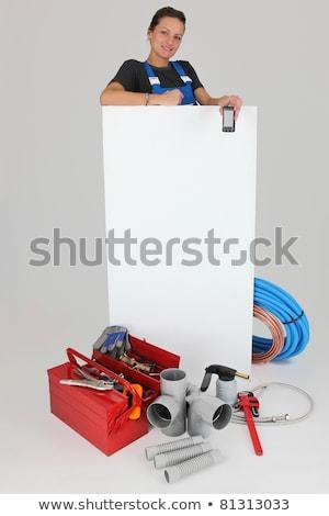 Nő szerszámosláda narancs doboz kulcs kalapács Stock fotó © photography33