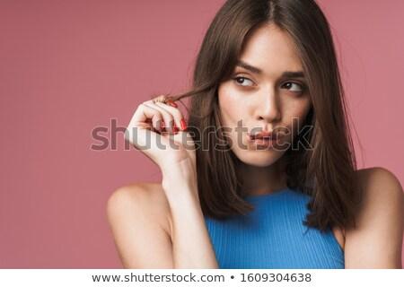 Mulher atraente lábio nu ombros indecisão Foto stock © dash