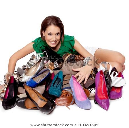 nő · cipő · gyűjtemény · mosolygó · nő · ül · cipők - stock fotó © kalozzolak
