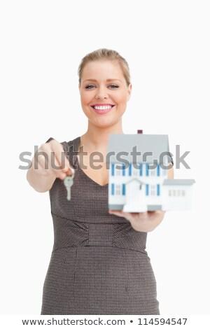 деловая · женщина · ключевые · модель · дома · белый - Сток-фото © wavebreak_media