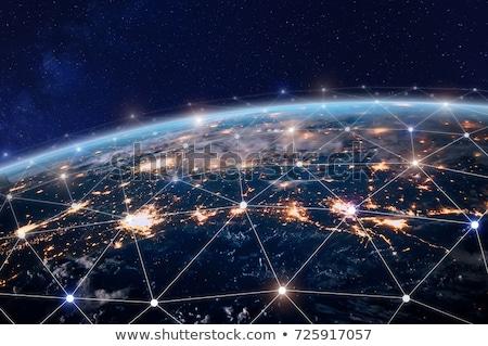 Interaktív globális kommunikáció vezető Föld földrész térkép Stock fotó © Lightsource