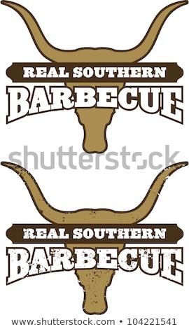 echt · zuidelijk · barbecue · symbool · koe · schedel - stockfoto © fiftyfootelvis
