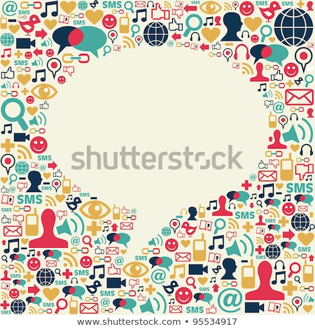 Social media icons texture in talk bubble shape Stock photo © REDPIXEL