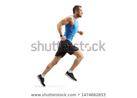 mannelijke · atleet · lopen · geïsoleerd · witte - stockfoto © stepstock