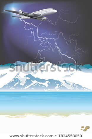 Vliegtuig zee onweersbui vliegen blauwe hemel wolken Stockfoto © d13