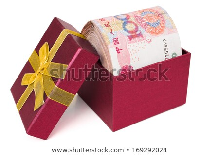 Concept of bonus. Red box with gold bow full of money. Stock photo © gladiolus