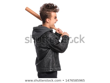 joven · gamberro · bate · de · béisbol · aislado · blanco · cara - foto stock © elnur