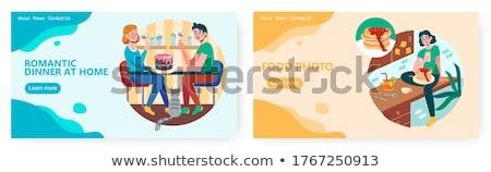 Emberek étterem étterem palacsinták barátok pár Stock fotó © Kzenon
