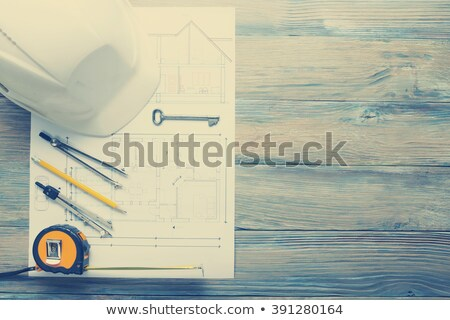 Stock fotó: építészet · projekt · iroda · asztal · szerszámok · kulcsok