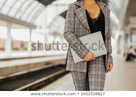 lopen · meisje · spoorweg · blauwe · hemel · 3d · render · illustratie - stockfoto © neonshot