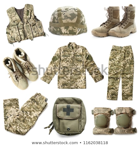 Soldaat camouflage geïsoleerd witte man achtergrond Stockfoto © Elnur