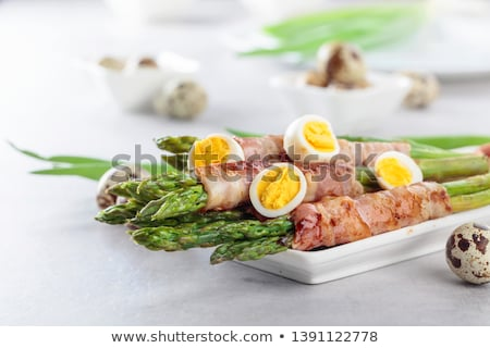 Plate with quail eggs in restaurant Stock photo © Nejron