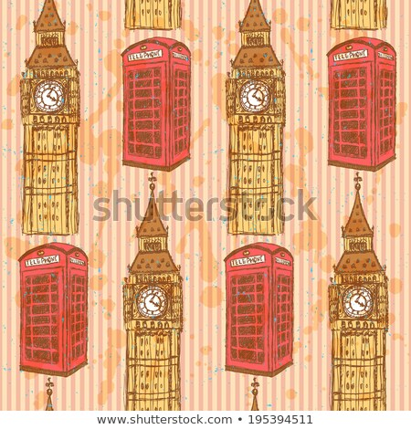 sketch big ben and phone cabin vector seamless pattern stock photo © kali