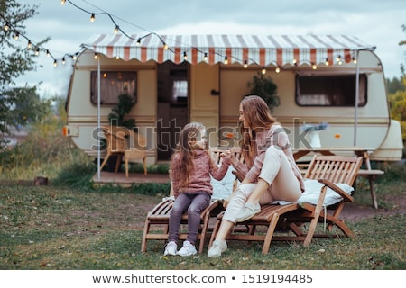 Young Children Sitting Outside In Caravan Park Stock photo © monkey_business