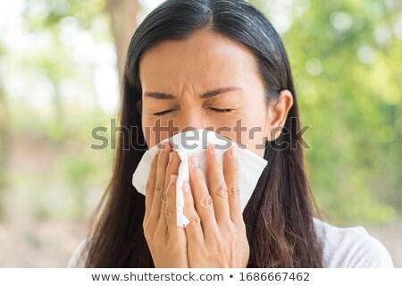 Menina assoar o nariz outono mulher mão médico Foto stock © mady70