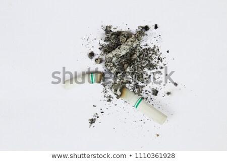 Yanan sigara beyaz küllük stüdyo yalıtılmış Stok fotoğraf © Lizard