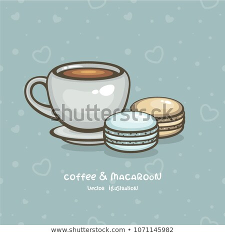 Set of hot tea with macaroon stock photo © nalinratphi