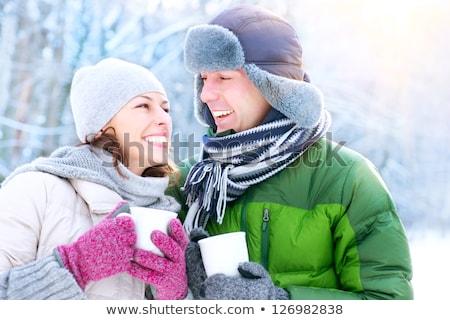 茶 · 冬 · 公園 · 肖像 · 幸せ - ストックフォト © dashapetrenko