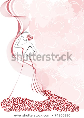 Stylish Lady in Pink Dress with Ornamentation Stock photo © gromovataya