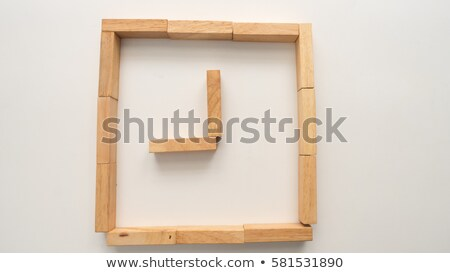 Grens houten bouwstenen frame speelgoed Stockfoto © dezign56