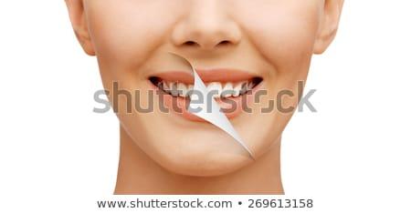 歯 · 小 · 魚 · 洗浄 · ビッグ · 笑顔 - ストックフォト © Soleil