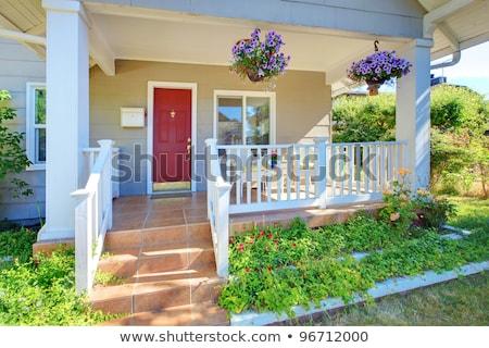 Niebieski wejście weranda czerwony drzwi kontrast Zdjęcia stock © iriana88w