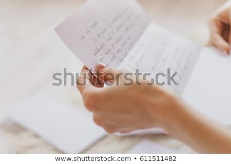 Okuma mektup genç kadın yatak kâğıt Stok fotoğraf © eleaner