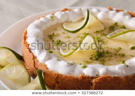 Sleutel kalk taart vork plaat Stockfoto © dehooks