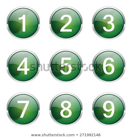 Stock photo: 4 Number Circular Vector Green Web Icon Button