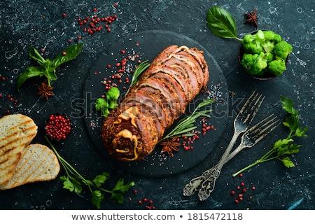 grillezett · disznóhús · felszolgált · rizs · citrom · étel - stock fotó © Makse