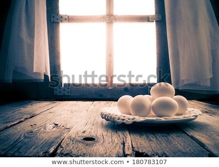 Eski mutfak masası kırsal kulübe sabah yumurta Stok fotoğraf © fotoaloja