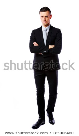 портрет бизнесмен оружия сложенный ходьбе изолированный Сток-фото © deandrobot