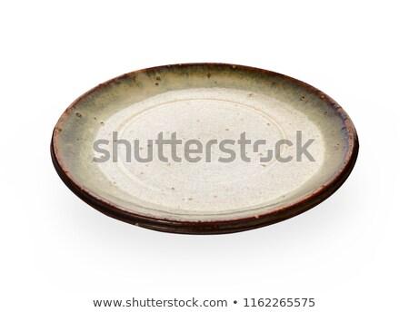 Elefántcsont üres tányér izolált fehér Stock fotó © tilo