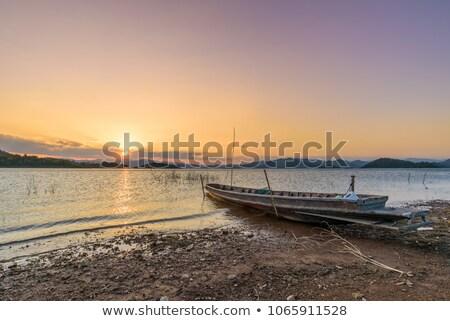 Thai barco em movimento mar noite sol Foto stock © Mps197