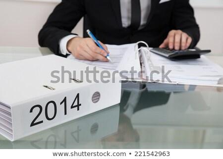 Biznesmen 2014 folderze młodych biały Zdjęcia stock © AndreyPopov