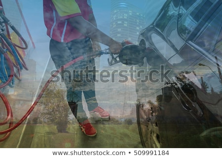 Cityscape with wind petrol station Stock photo © cherezoff