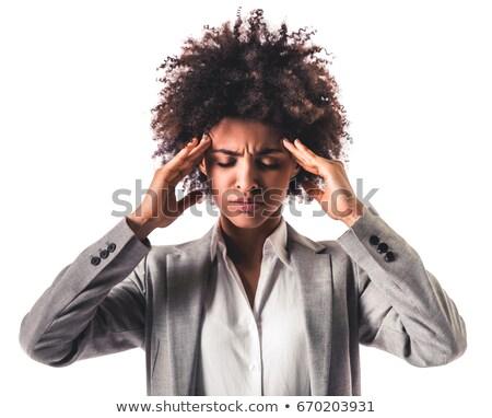 女性実業家 · 頭痛 · クローズアップ · 緑 · 執行 · 痛み - ストックフォト © deandrobot